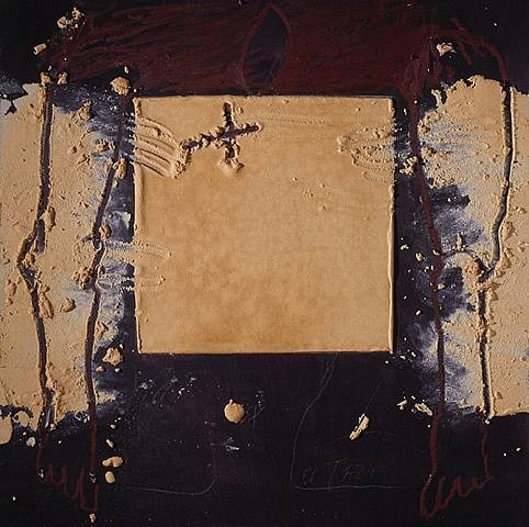 2007 Quadrat ocre mixed media on wood.jpg